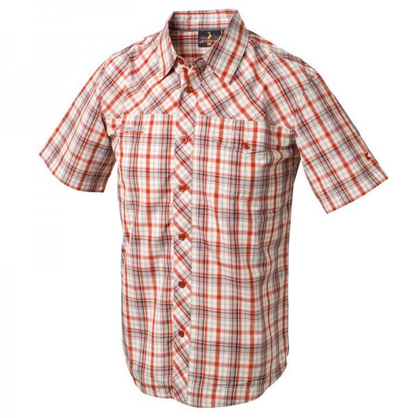 Herren Shirt Funktionelles Outdoor-Hemd, rot/grau/gelb