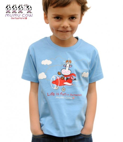"T-Shirt Mumucow ""Life is fun"", blau"