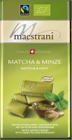 Swiss Organic Tafelschokolade MATCHA & MINZE 80g