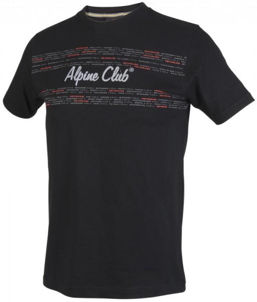 Herren T-Shirt Schweizer Gipfel, schwarz