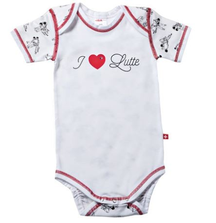 "Baby-Body ""I Love Lutte"", kurzarm, weiss"