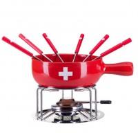 Käse Fondue-Set Schweizerkreuz, 9-teilig, rot
