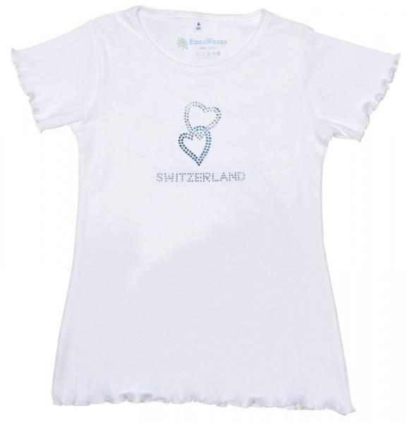 Mädchen T-Shirt Diamant Herzen, weiss