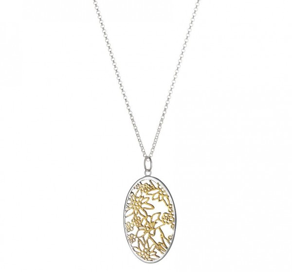 Anhänger Edelweiss mit Rolokette, 925 Silber vergoldet