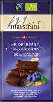 Swiss Organic Tafelschokolade HEIDELBEERE, AMARANTH & CHIA 80g