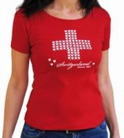 Damen T-Shirt Schweizerkreuz mit Herzen