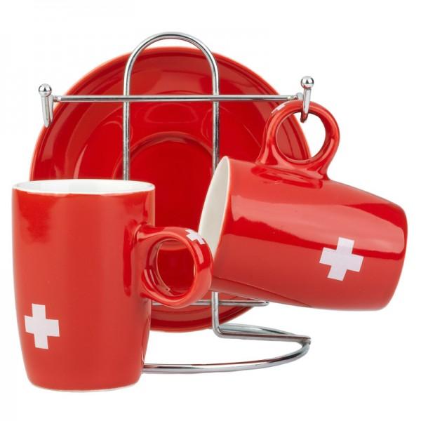 Espresso Tasse 2er Set mit Metall-Stand, Schweizerkreuz rot