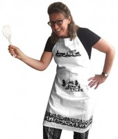 Küchenschürze Scherenschnitt weiss