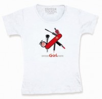 "Damen T-Shirt ""SWISS GIRL KNIFE"", weiss"