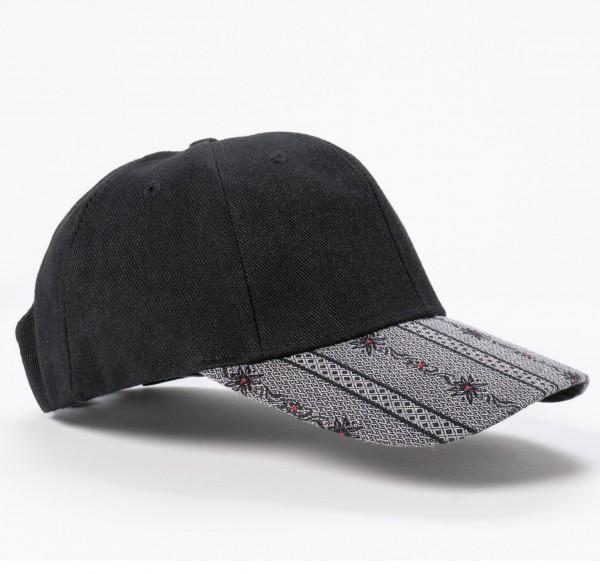 Cap Edelweiss schwarz-anthrazit