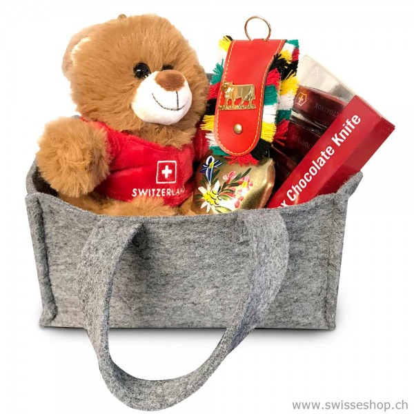 Geschenkset Teddybär, Glocke & Victorinox