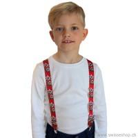 Kinder Hosenträger, Edelweiss rot