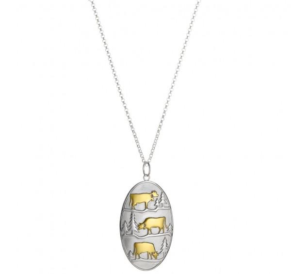 Anhänger Poya mit Rolokette, 925 Silber vergoldet