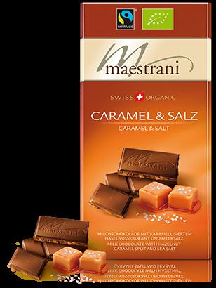 Swiss Organic Tafelschokolade CARAMEL & SALZ 80g