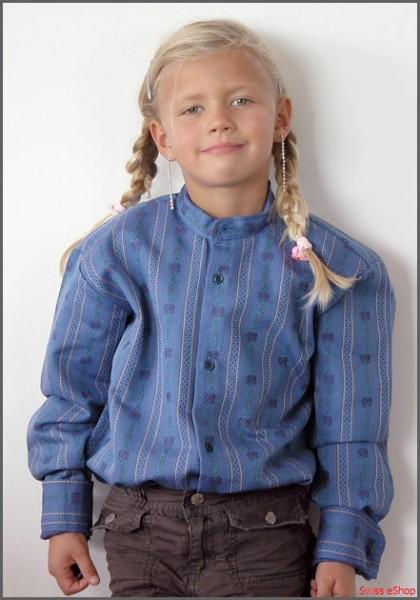 Kinder Edelweiss-Hemd ohne Kragen langarm Bdb