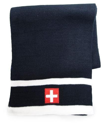 Winterschal gestrickt, Schweizerwappen