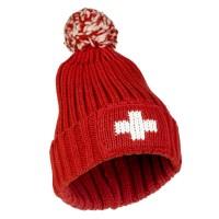 Wintermütze Schweizerkreuz mit Pompon