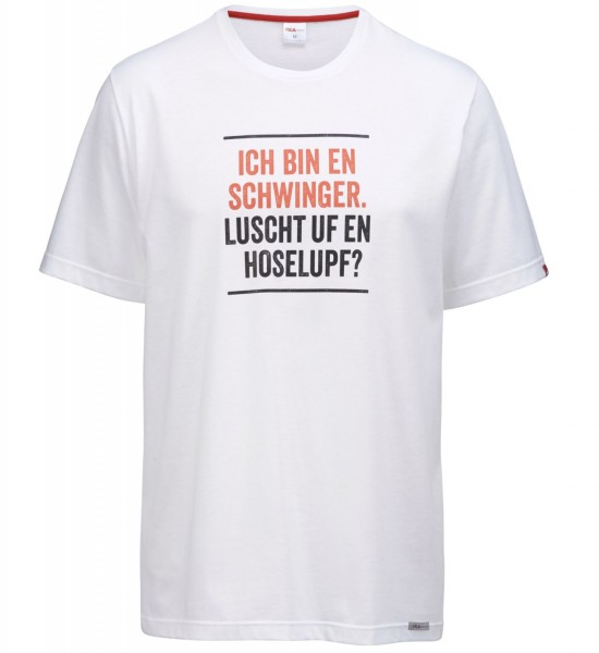 "Herren T-Shirt ""ich bin en Schwinger"" weiss"