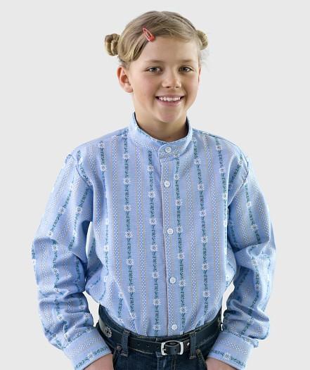 Kinder Edelweiss-Hemd ohne Kragen langarm Chb