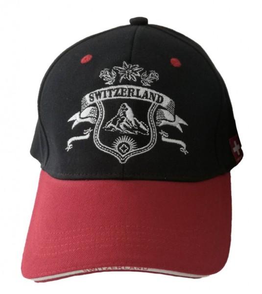 Baseball Cap Switzerland, schwarz/rot