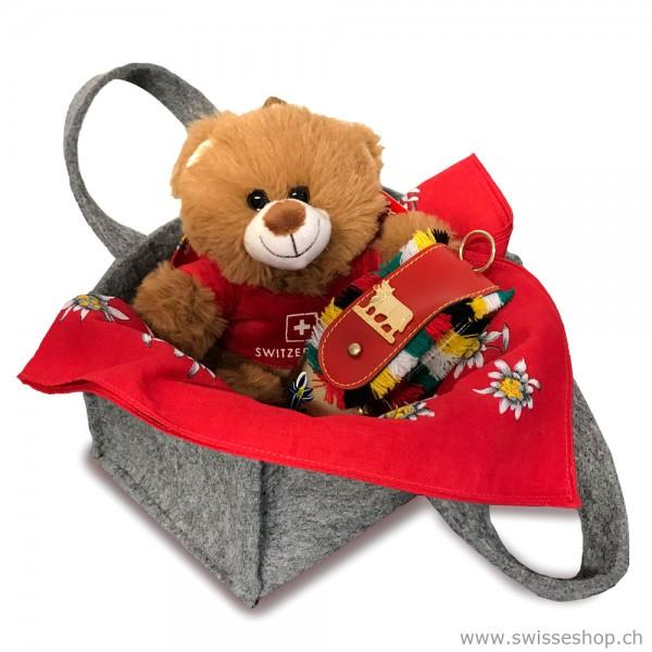 Geschenkset Teddybär, Glocke & Nickituch