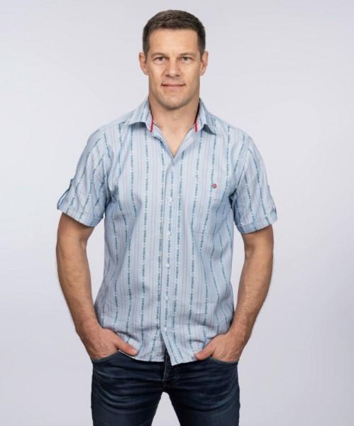 Herren Edelweiss Sommer-Hemd, Kurzarm, Kent Kragen, hellblau