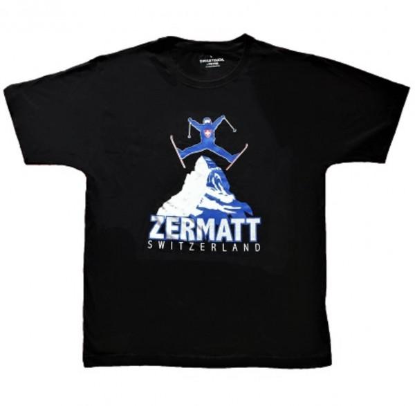 Herren T-Shirt Zermatt Skifahrer