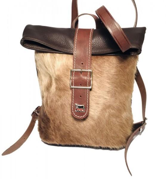 Falt-Rucksack aus Leder und Kuhfell mit Appenzeller Kuh-Ornament
