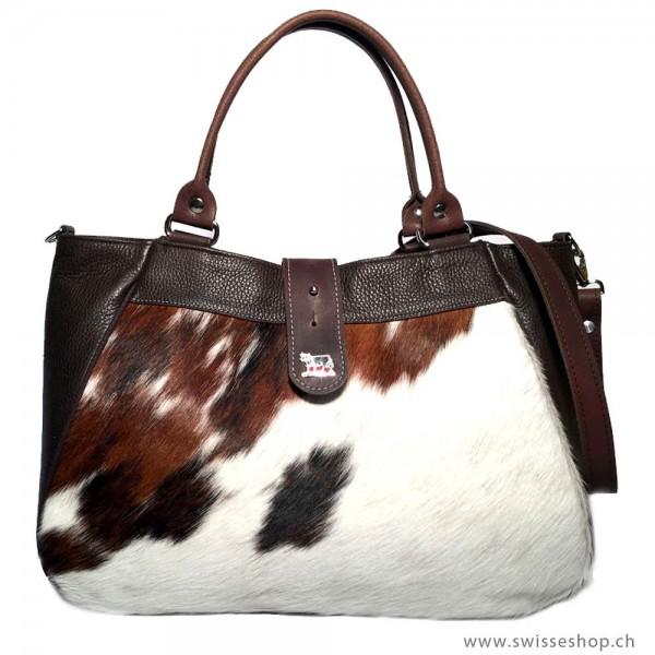 Handtasche aus Leder und Kuhfell mit Appenzeller Kuh-Ornament, gross