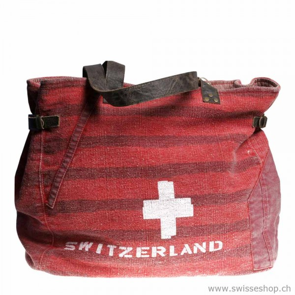 Canvas Tasche Vintage gross, rot