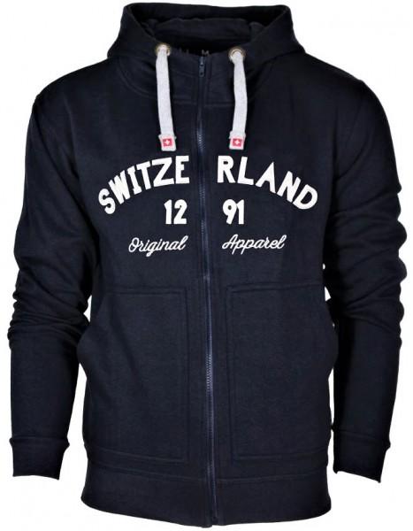 Zipper Hoodie Switzerland 1291, dunkelblau