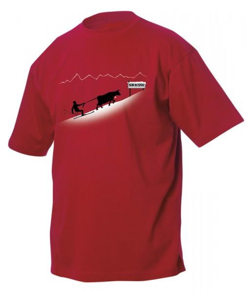 T-Shirt Ski Kuh, rot