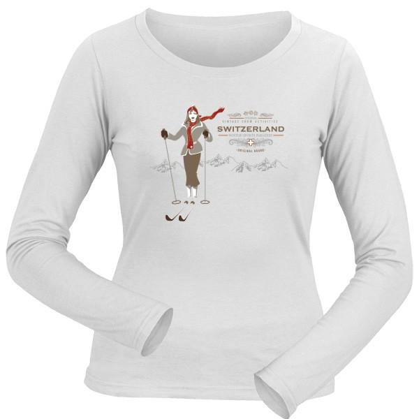 Damen-Shirt, Longsleeve Vintage Switzerland