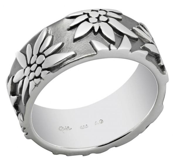 Ring Edelweiss 925 Silber, 9 mm, schwarz rhodium