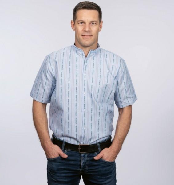 Herren Edelweiss-Hemd, kurzarm mit Stehkragen