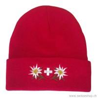 Wintermütze Schweizerkreuz & Edelweiss / rot