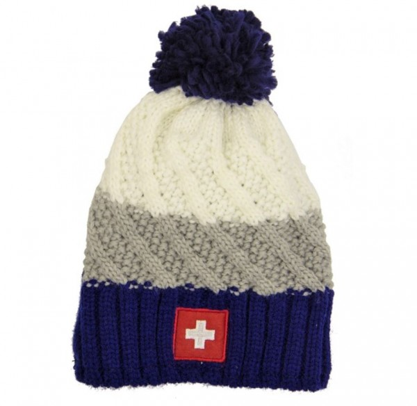 Wintermütze Schweizer Wappen, blau grau weiss