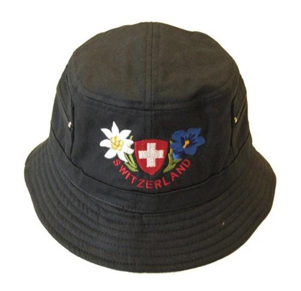 Mütze Bob Alpenblumen Schweizerkreuz, Baumwolle