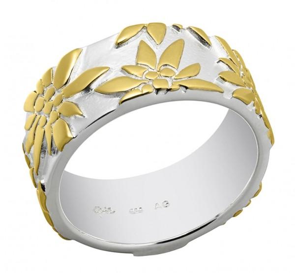 Ring Edelweiss 925 Silber vergoldet, 9 mm