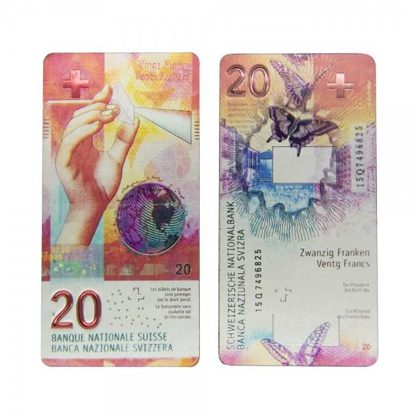 Magnet Schweizer Banknote CHF 20.-, 10 x 5 cm