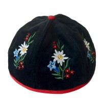 Sennenhut mit bestickten Alpenblumen, schwarz / Grösse: S