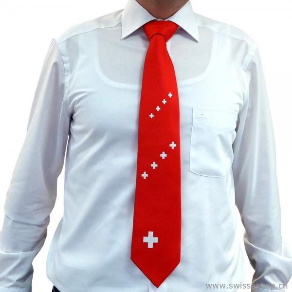 Krawatte mit Schweizerkreuz, rot