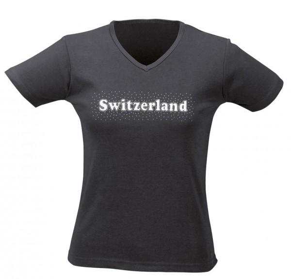 Damen T-Shirt CH silber Stein