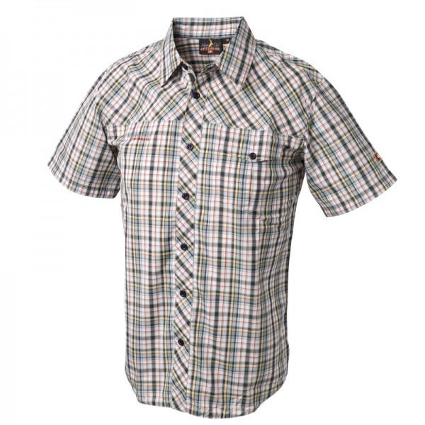 Herren Shirt Funktionelles Outdoor-Hemd, grün/gelb/rot