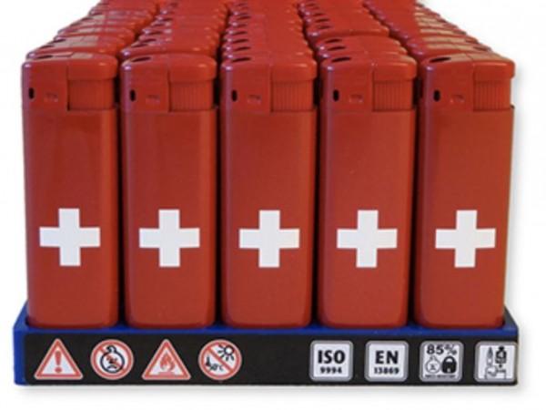Feuerzeug Schweizerkreuz rot