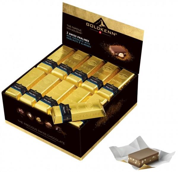 Schokolade Mini-Goldbarren Aussteller 50er Set - Praliné