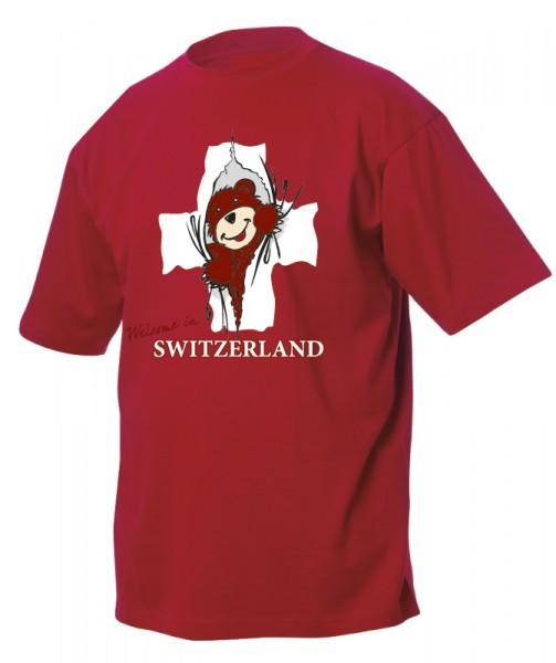 Kinder T-Shirt, CH-Kreuz Bär, rot