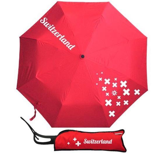 Automatischer Regenschirm Switzerland, rot