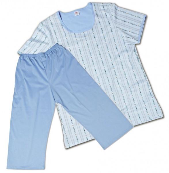 Damen Pyjama 3/4 Schwinger hellblau