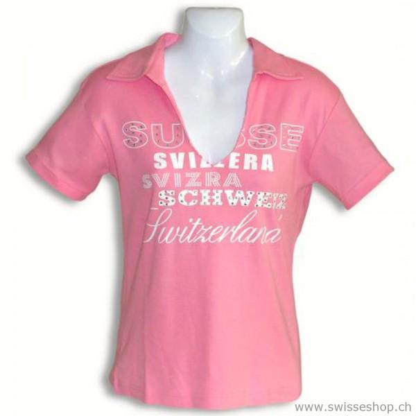 Polo-Shirt SCHWEIZ rosa